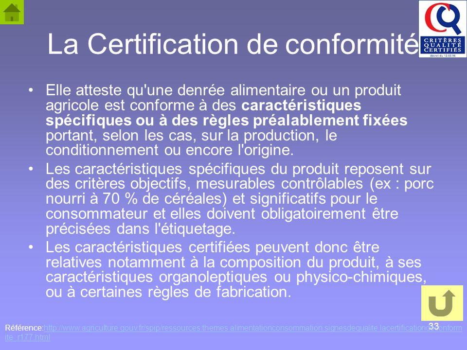 La Certification de conformité