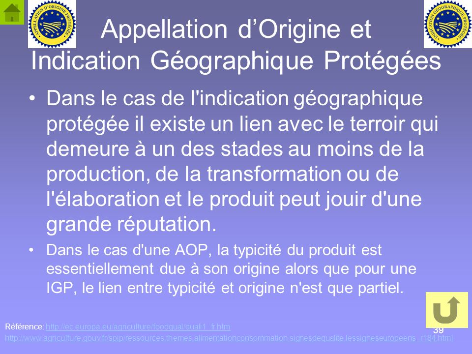 Appellation d'Origine et Indication Géographique Protégées