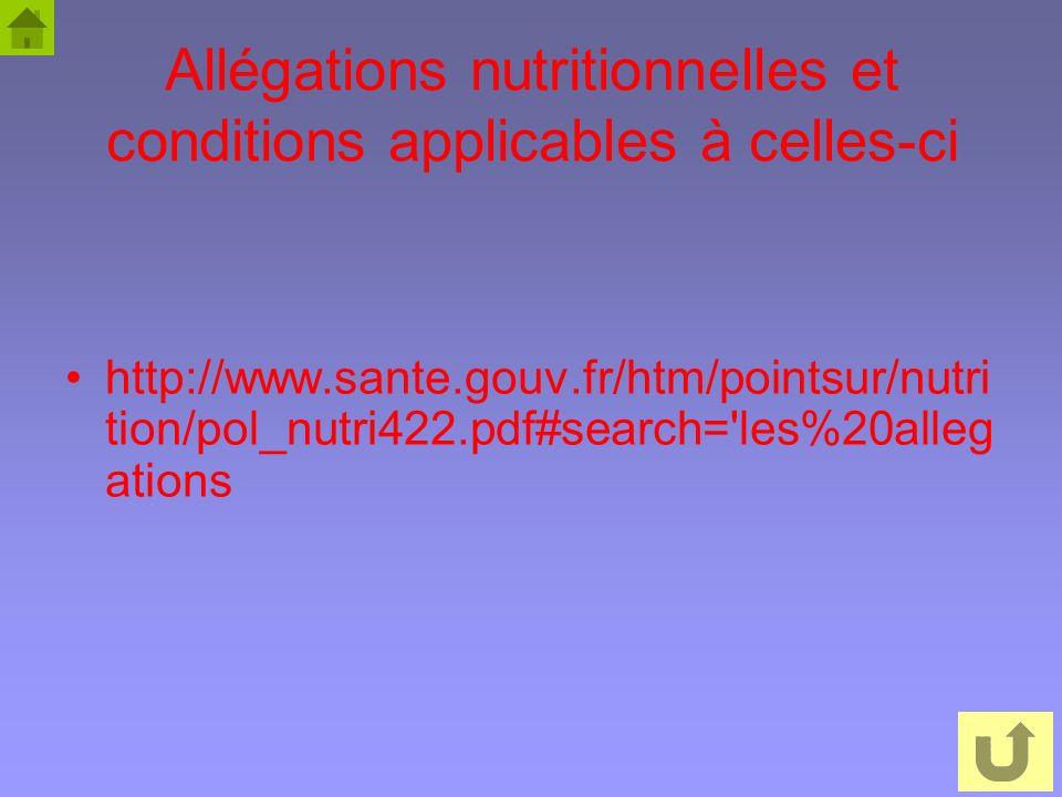 Allégations nutritionnelles et conditions applicables à celles-ci