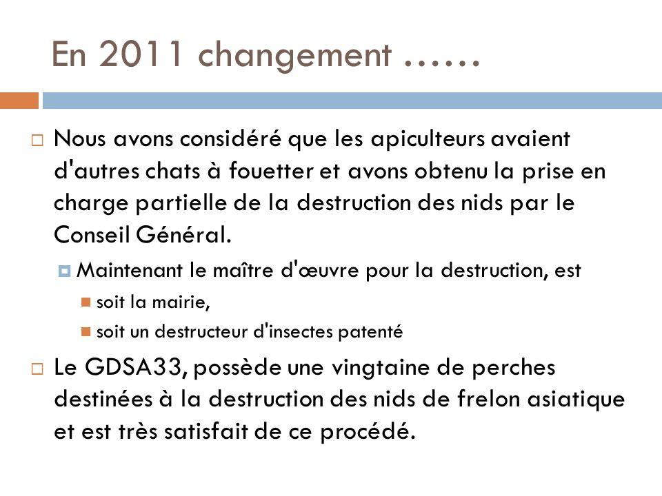 En 2011 changement ……