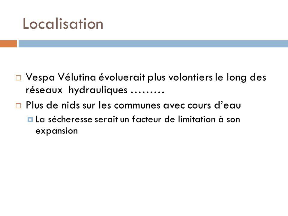 Localisation Vespa Vélutina évoluerait plus volontiers le long des réseaux hydrauliques ……… Plus de nids sur les communes avec cours d'eau.