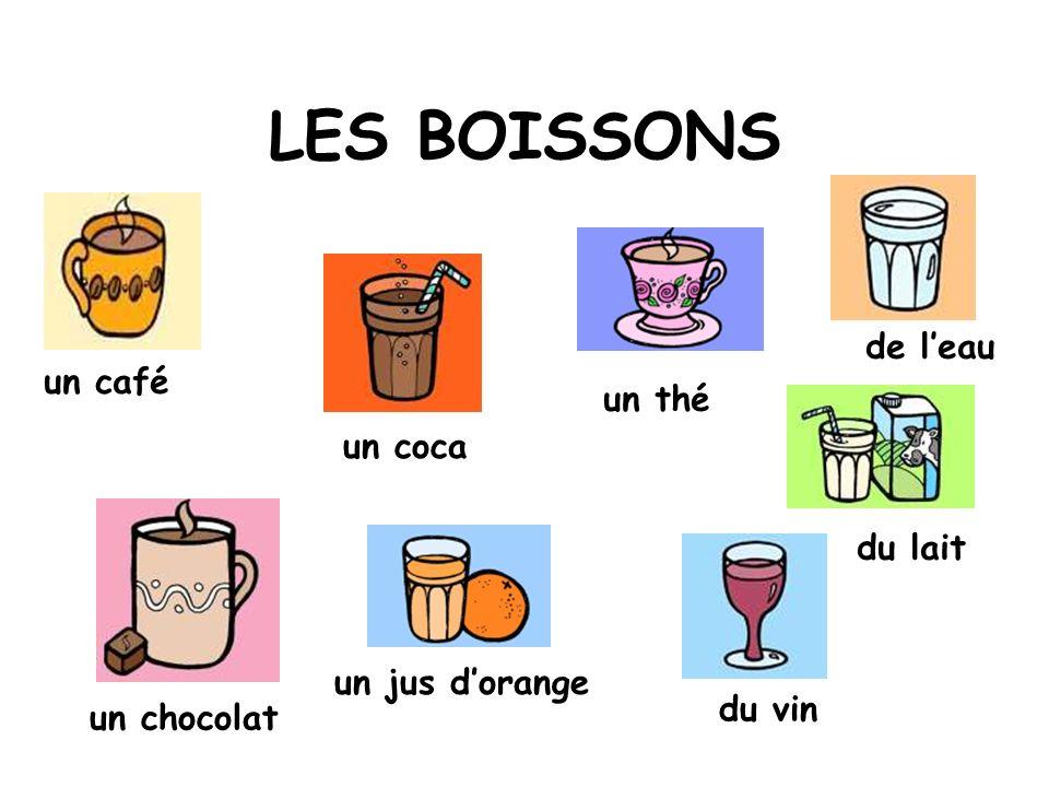 LES BOISSONS de l'eau un café un thé un coca du lait un jus d'orange