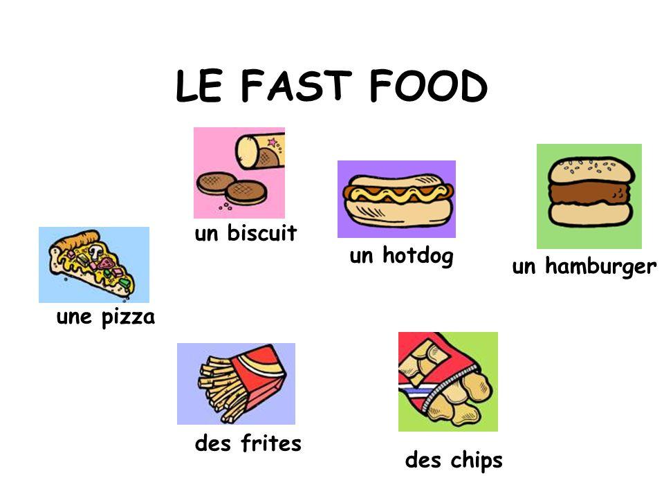 LE FAST FOOD un biscuit un hotdog un hamburger une pizza des frites
