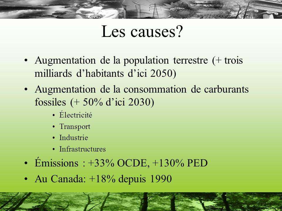Les causes Augmentation de la population terrestre (+ trois milliards d'habitants d'ici 2050)