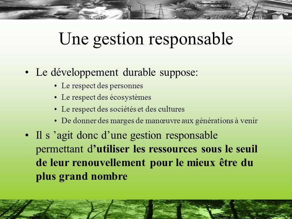 Une gestion responsable