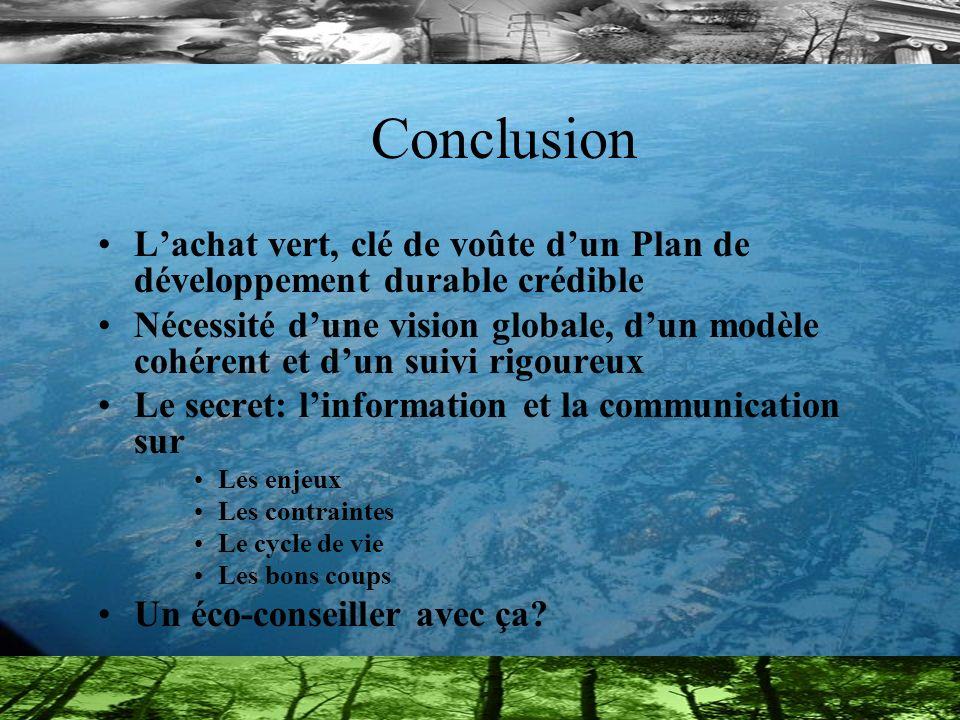 Conclusion L'achat vert, clé de voûte d'un Plan de développement durable crédible.