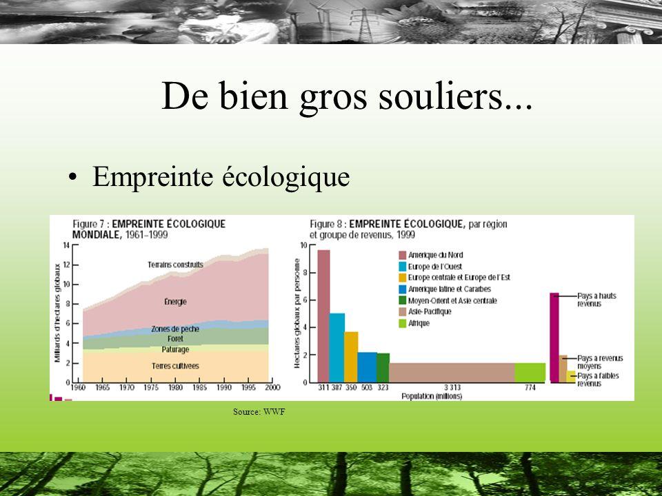 De bien gros souliers... Empreinte écologique Source: WWF