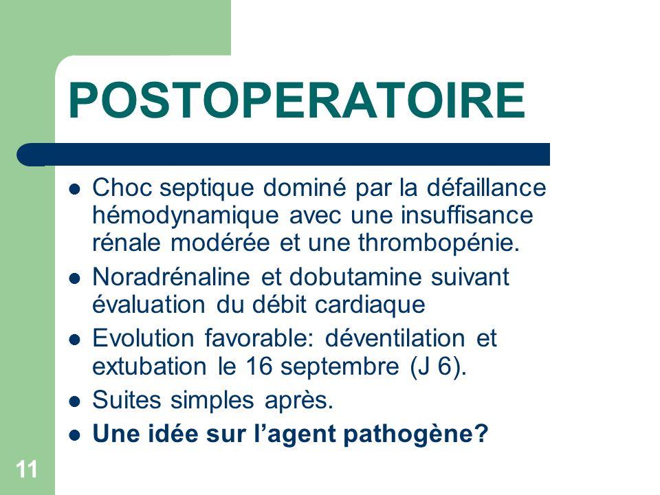 POSTOPERATOIRE Choc septique dominé par la défaillance hémodynamique avec une insuffisance rénale modérée et une thrombopénie.