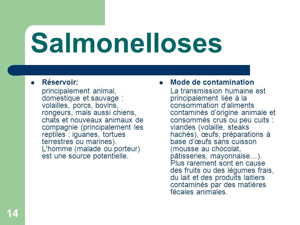 Salmonelloses Réservoir: