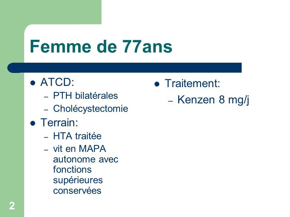 Femme de 77ans ATCD: Terrain: Traitement: Kenzen 8 mg/j