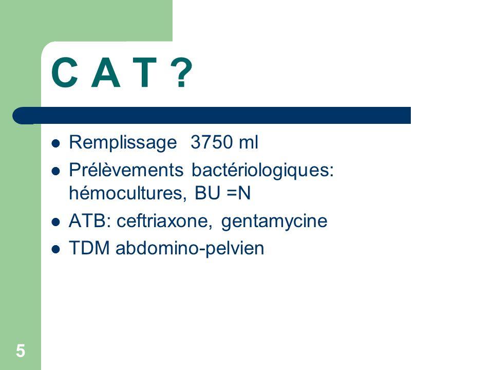 C A T Remplissage 3750 ml. Prélèvements bactériologiques: hémocultures, BU =N. ATB: ceftriaxone, gentamycine.