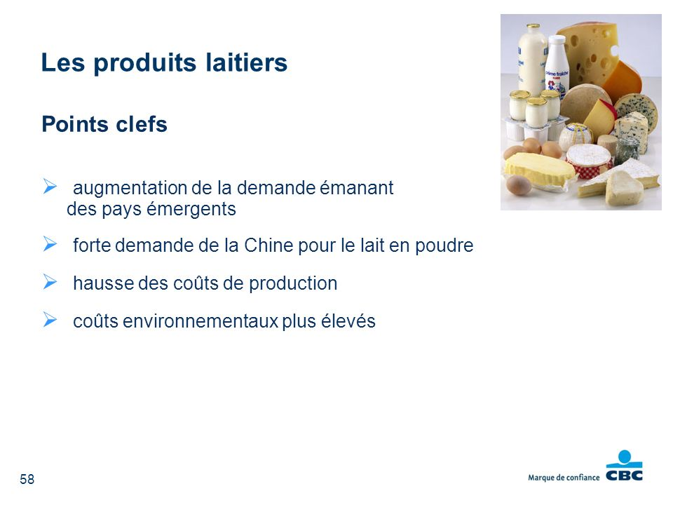 Les produits laitiers Points clefs