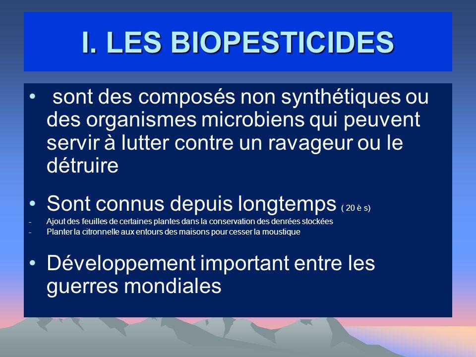 I. LES BIOPESTICIDES sont des composés non synthétiques ou des organismes microbiens qui peuvent servir à lutter contre un ravageur ou le détruire.
