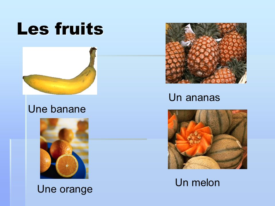 Les fruits Un ananas Une banane Un melon Une orange