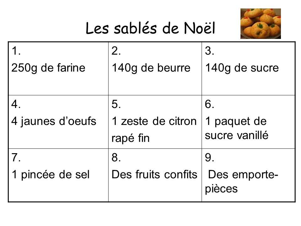 Les sablés de Noël 1. 250g de farine 2. 140g de beurre 3.