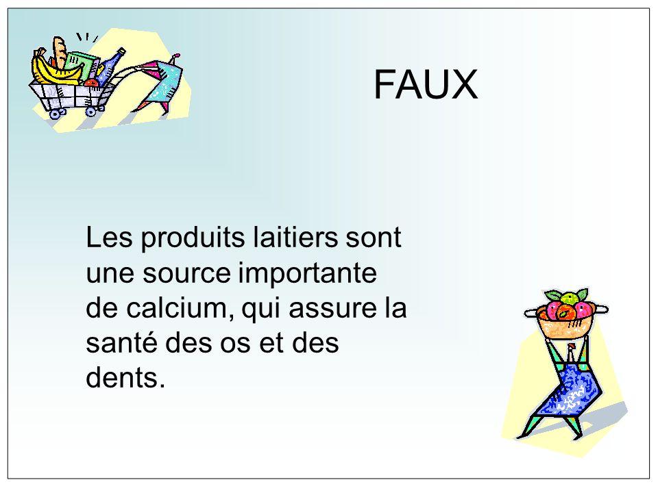 FAUXLes produits laitiers sont une source importante de calcium, qui assure la santé des os et des dents.