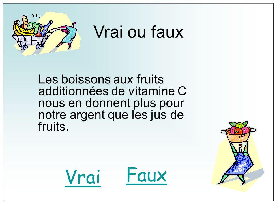 Vrai ou fauxLes boissons aux fruits additionnées de vitamine C nous en donnent plus pour notre argent que les jus de fruits.