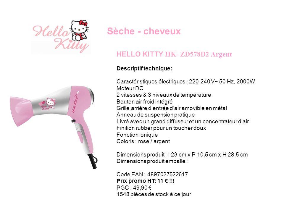 Sèche - cheveux HELLO KITTY HK- ZD578D2 Argent Descriptif technique: