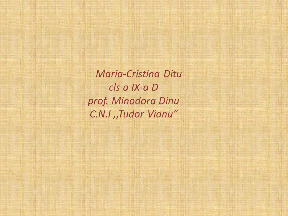 Maria-Cristina Ditu cls a IX-a D prof. Minodora Dinu C. N