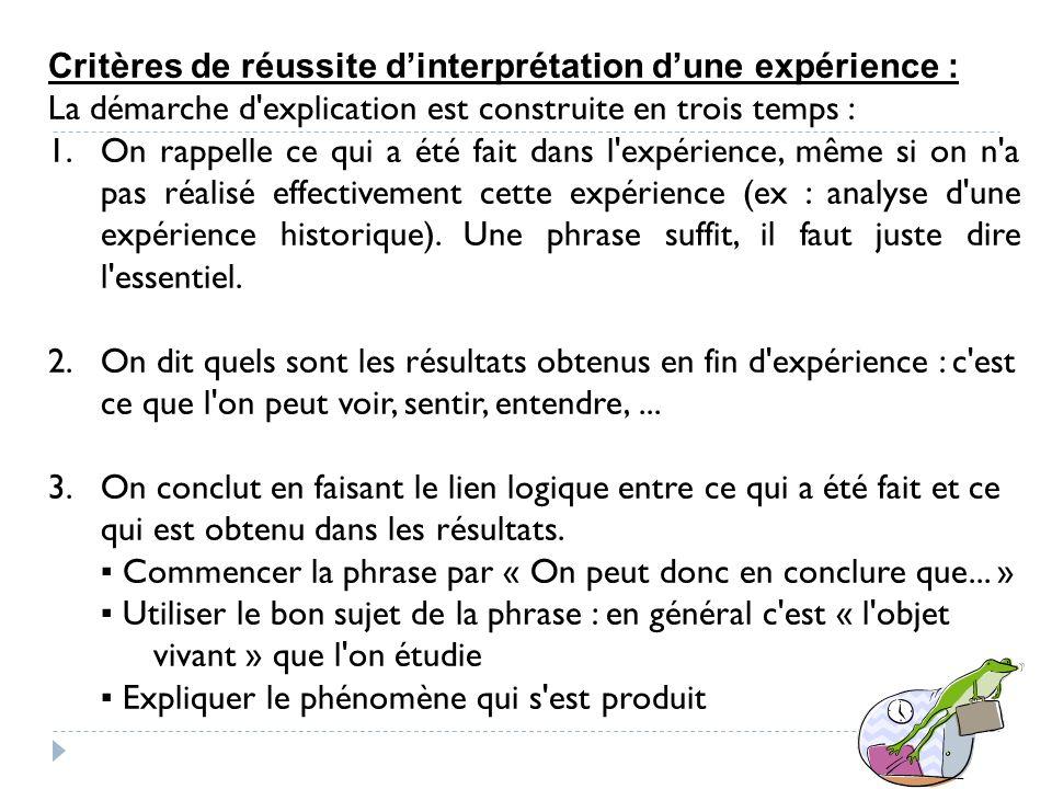 Critères de réussite d'interprétation d'une expérience :