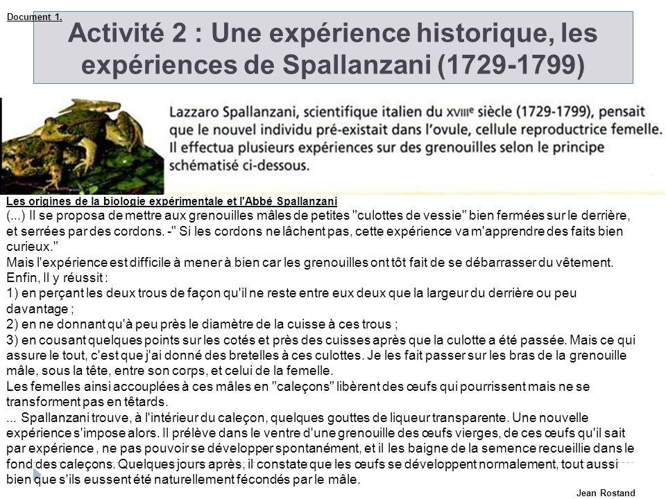 Document 1. Activité 2 : Une expérience historique, les expériences de Spallanzani (1729-1799)
