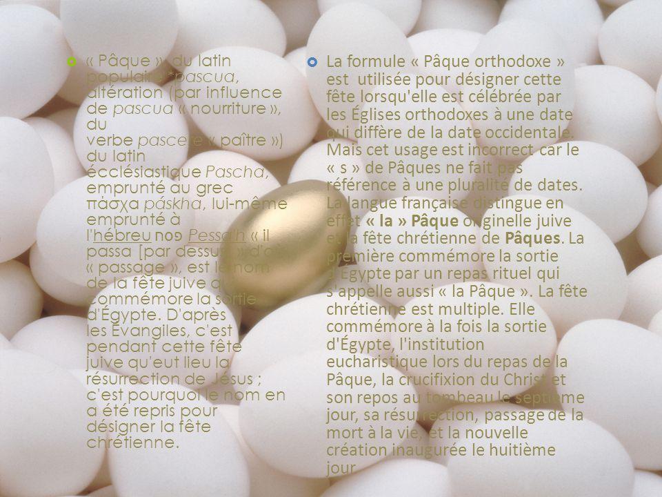 « Pâque », du latin populaire