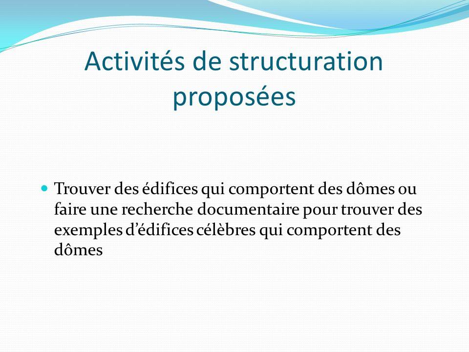 Activités de structuration proposées