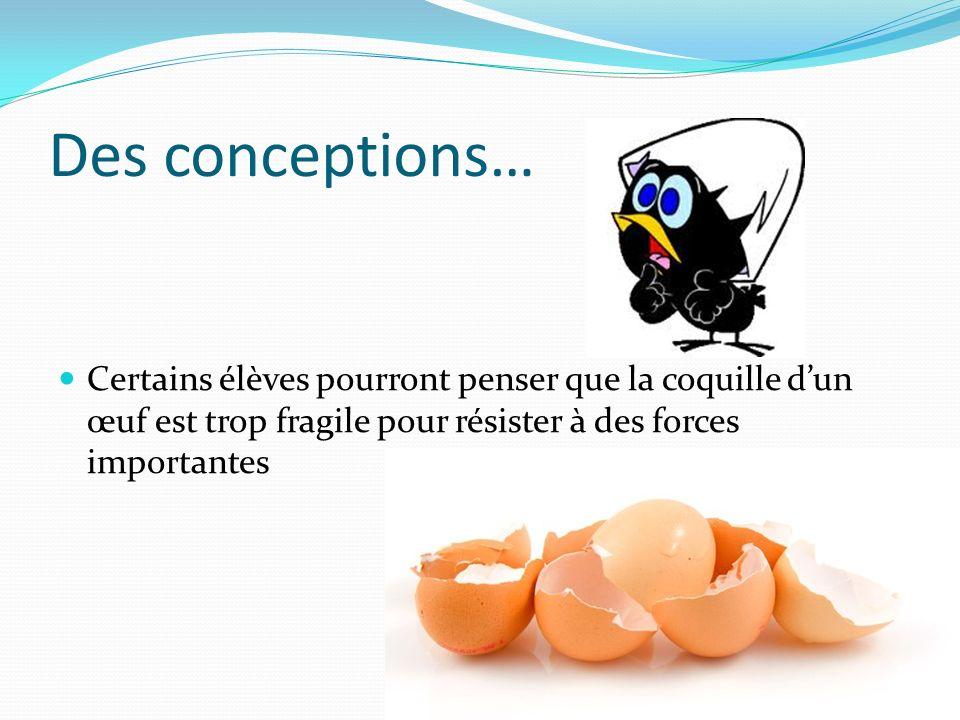 Des conceptions… Certains élèves pourront penser que la coquille d'un œuf est trop fragile pour résister à des forces importantes.