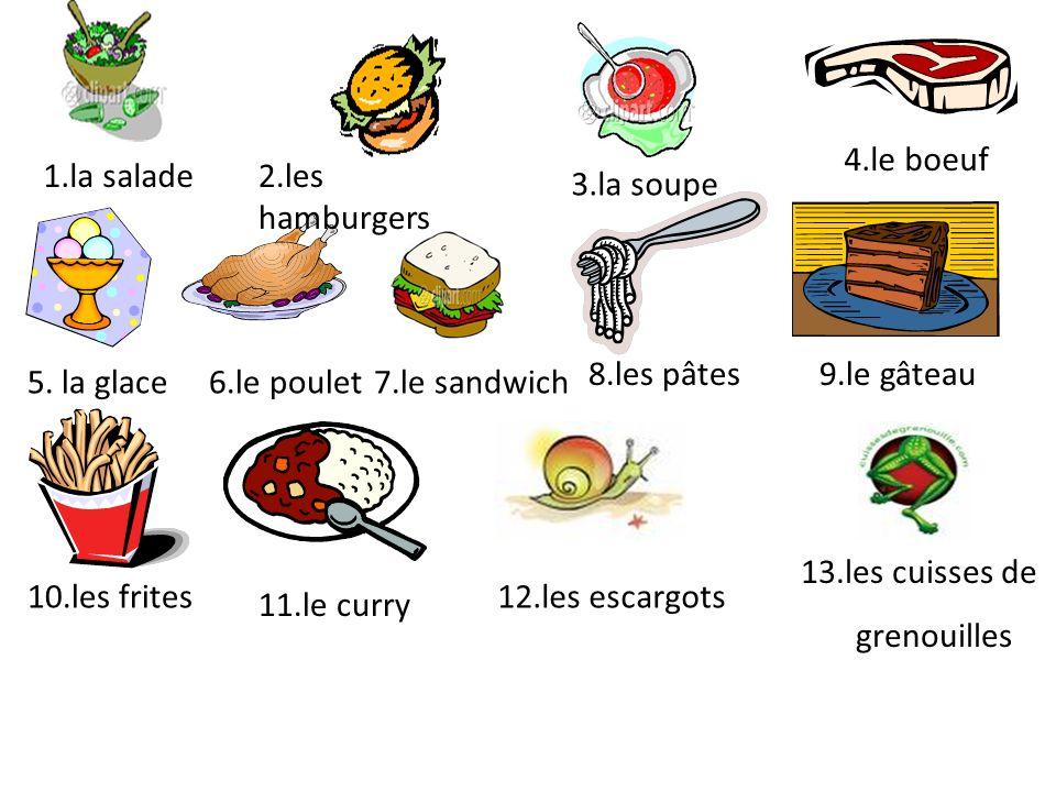 4.le boeuf 1.la salade 2.les hamburgers 3.la soupe 8.les pâtes
