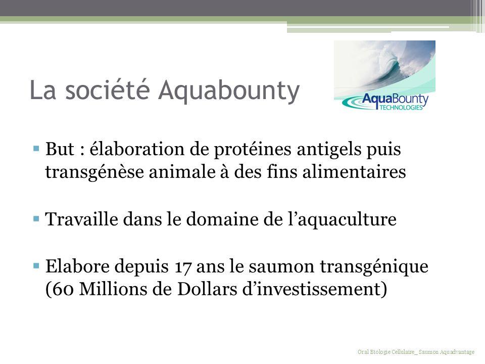 La société Aquabounty But : élaboration de protéines antigels puis transgénèse animale à des fins alimentaires.