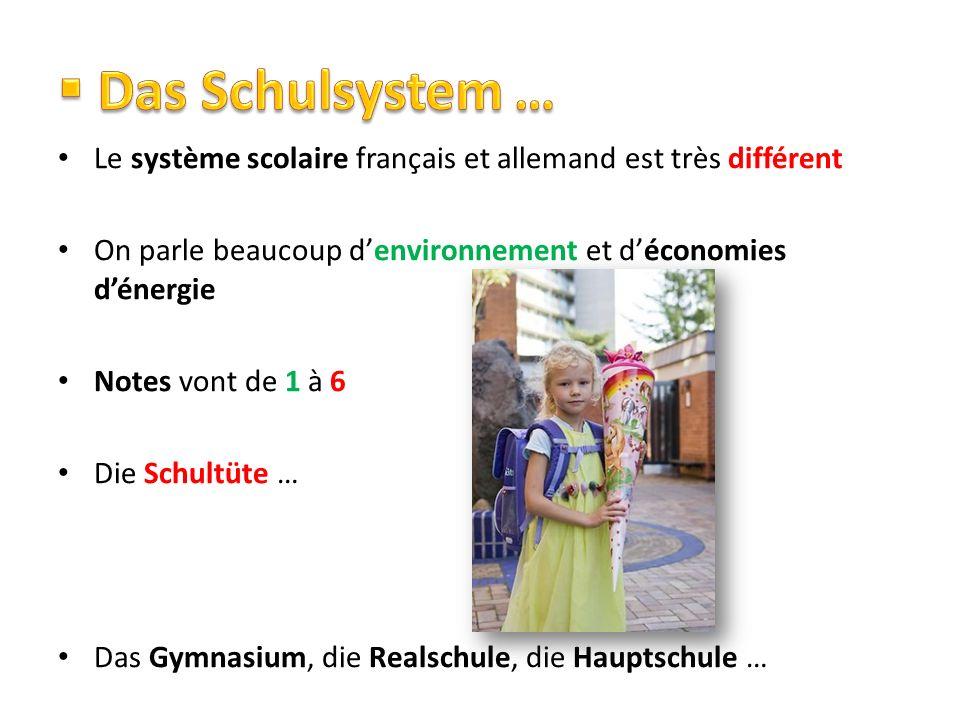 Das Schulsystem … Le système scolaire français et allemand est très différent. On parle beaucoup d'environnement et d'économies d'énergie.