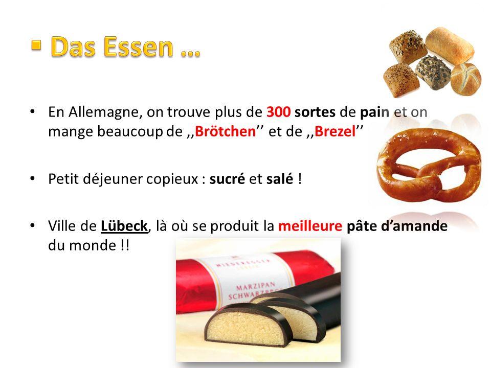 Das Essen … En Allemagne, on trouve plus de 300 sortes de pain et on mange beaucoup de ,,Brötchen'' et de ,,Brezel''