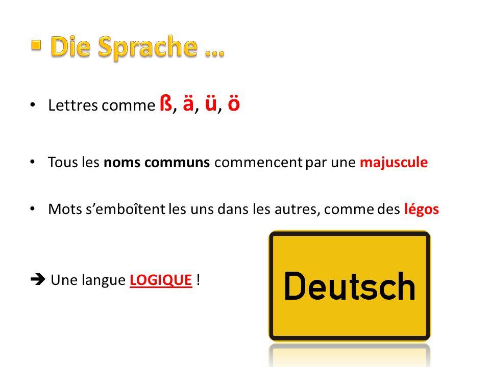 Die Sprache … Lettres comme ß, ä, ü, ö