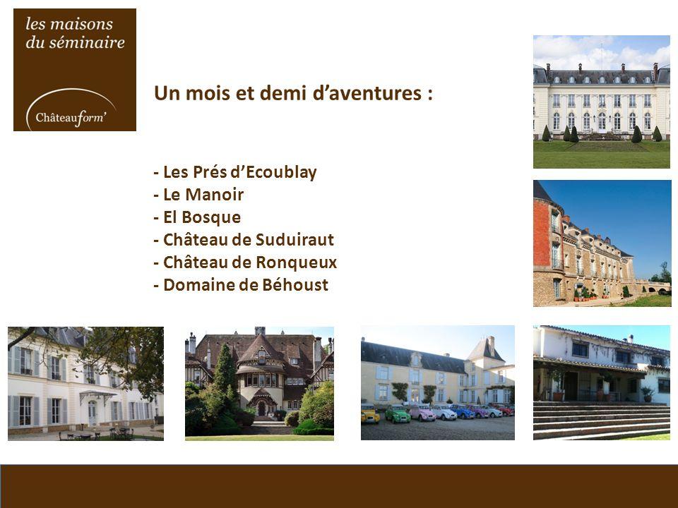 Un mois et demi d'aventures : - Les Prés d'Ecoublay - Le Manoir - El Bosque - Château de Suduiraut - Château de Ronqueux - Domaine de Béhoust