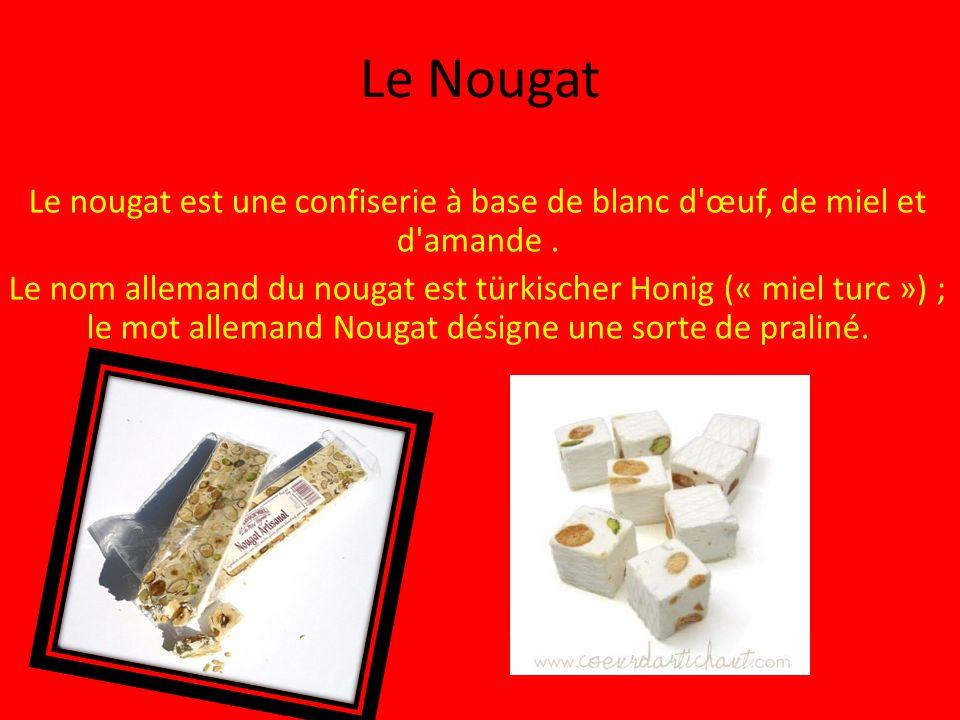 Le Nougat Le nougat est une confiserie à base de blanc d œuf, de miel et d amande .