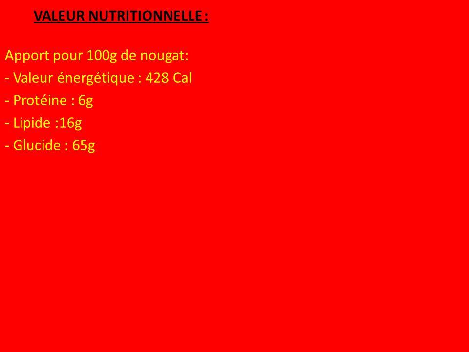 VALEUR NUTRITIONNELLE :