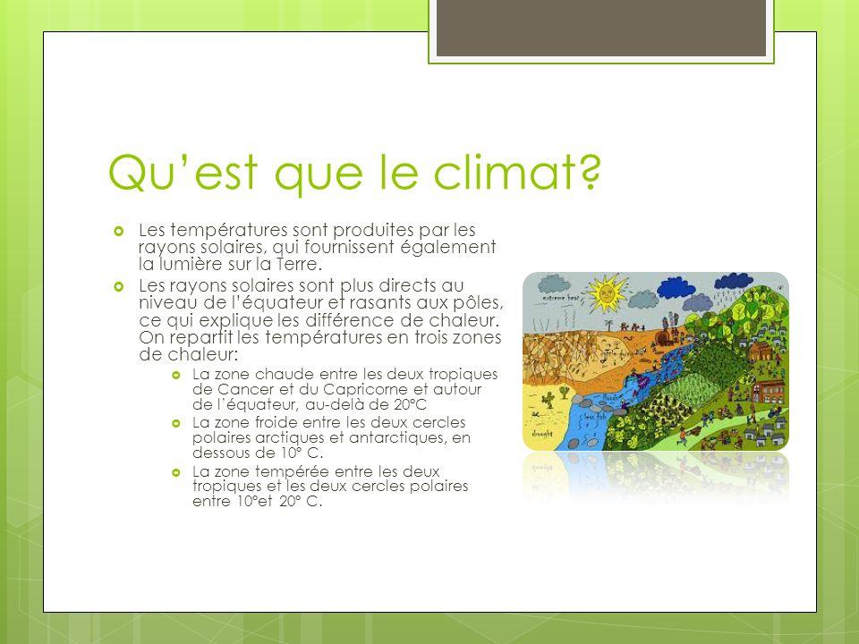 Qu'est que le climat Les températures sont produites par les rayons solaires, qui fournissent également la lumière sur la Terre.