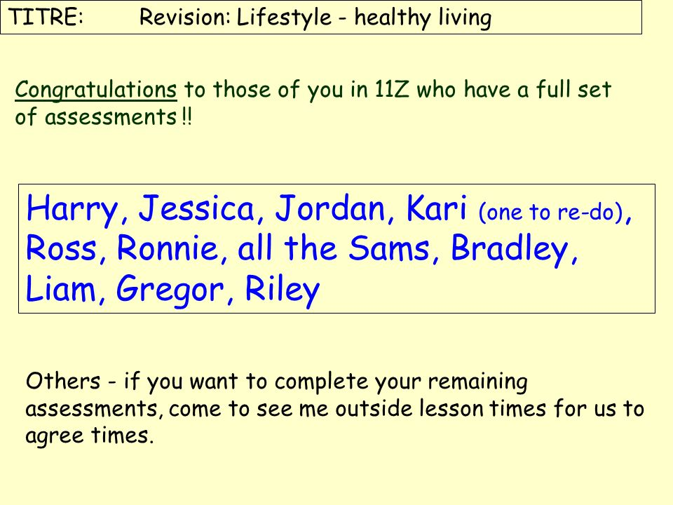 TITRE: Revision: Lifestyle - healthy living