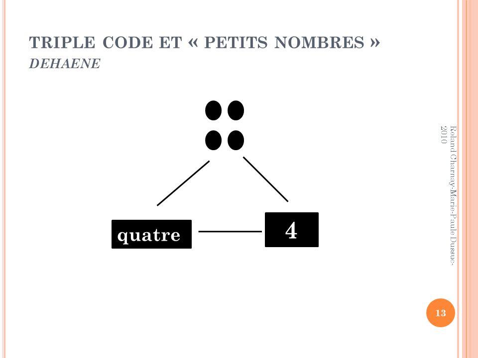 triple code et « petits nombres » dehaene