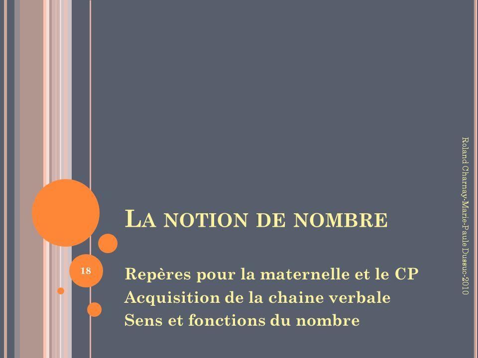La notion de nombre Repères pour la maternelle et le CP