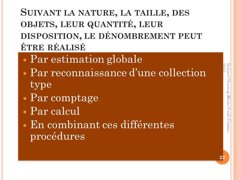 Par estimation globale Par reconnaissance d'une collection type