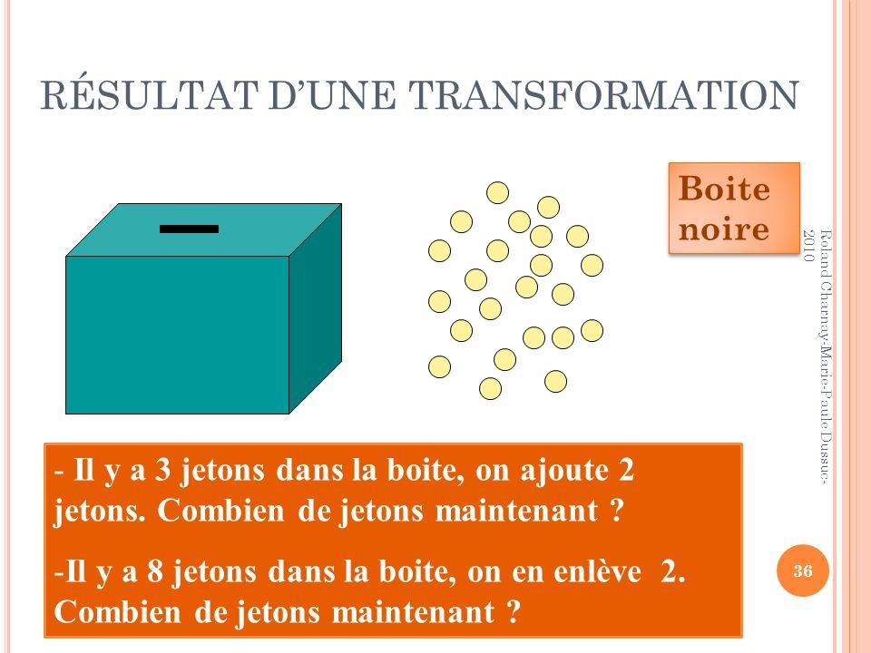 RÉSULTAT D'UNE TRANSFORMATION