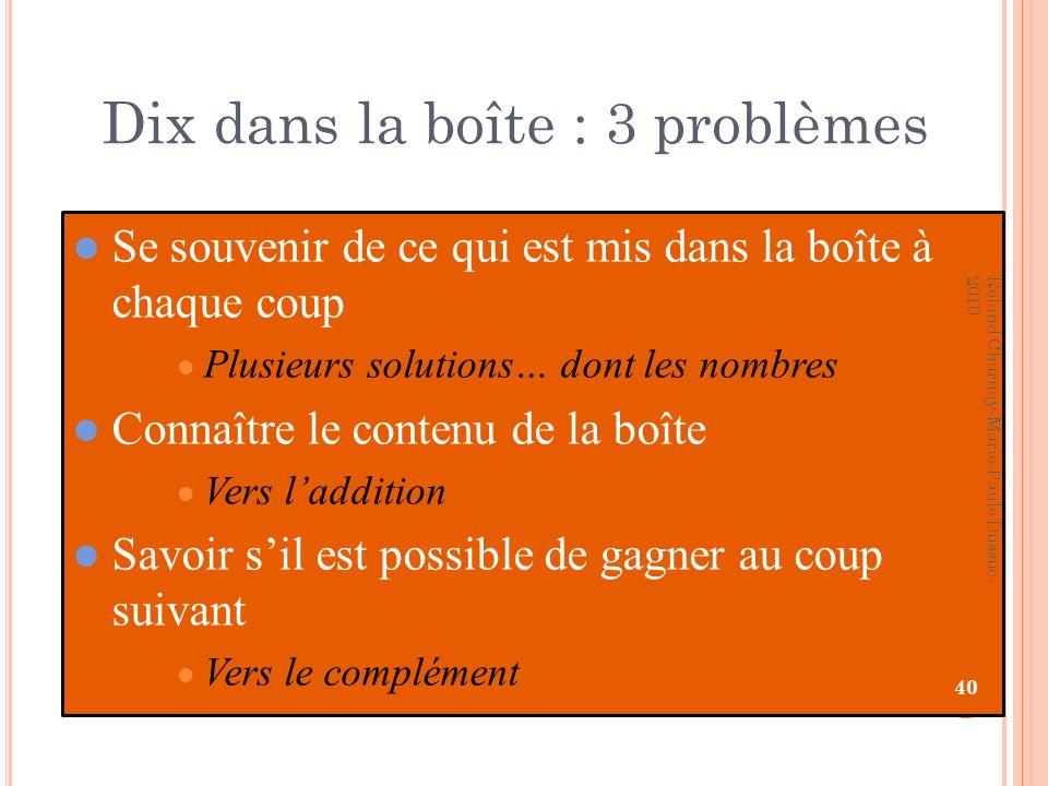 Dix dans la boîte : 3 problèmes