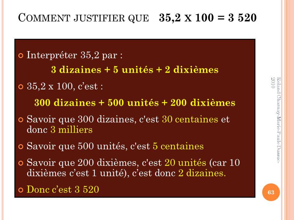 Comment justifier que 35,2 x 100 = 3 520