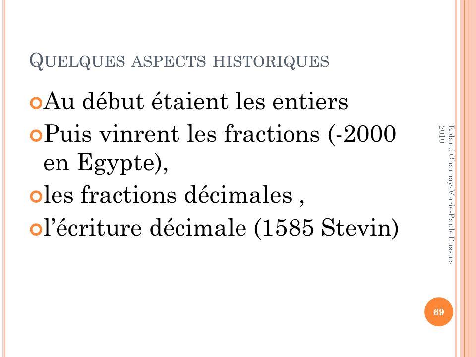 Quelques aspects historiques