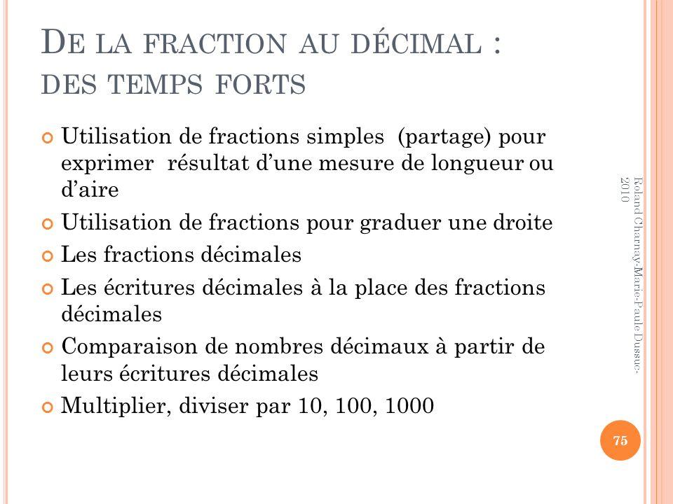 De la fraction au décimal : des temps forts
