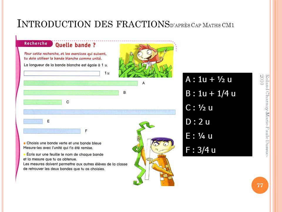Introduction des fractionsd après Cap Maths CM1