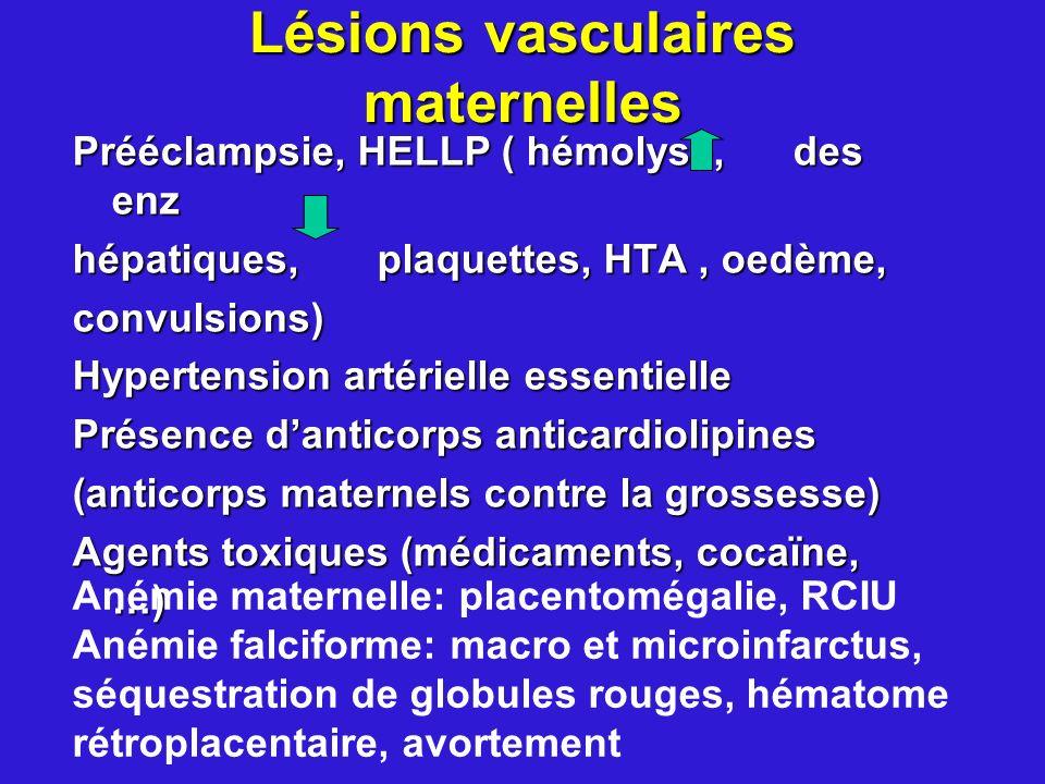 Lésions vasculaires maternelles