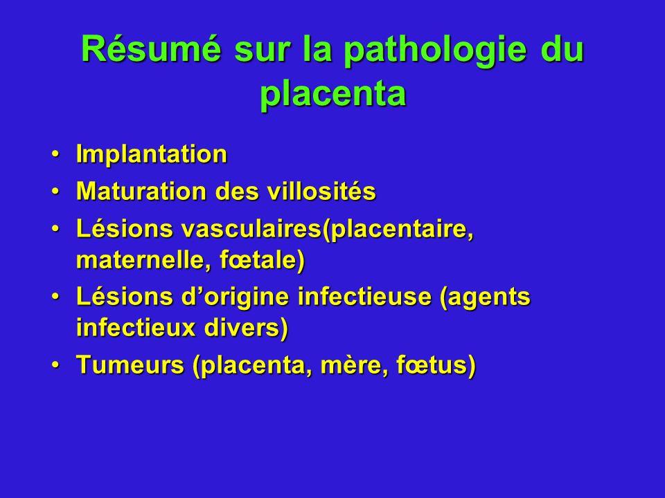 Résumé sur la pathologie du placenta