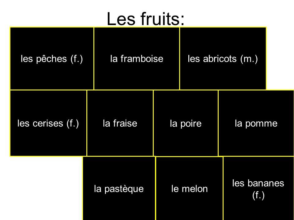 Les fruits: les pêches (f.) la framboise les abricots (m.)